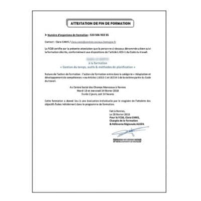 Traduction attestation de formation