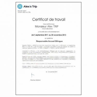 Traduction certificat de travail