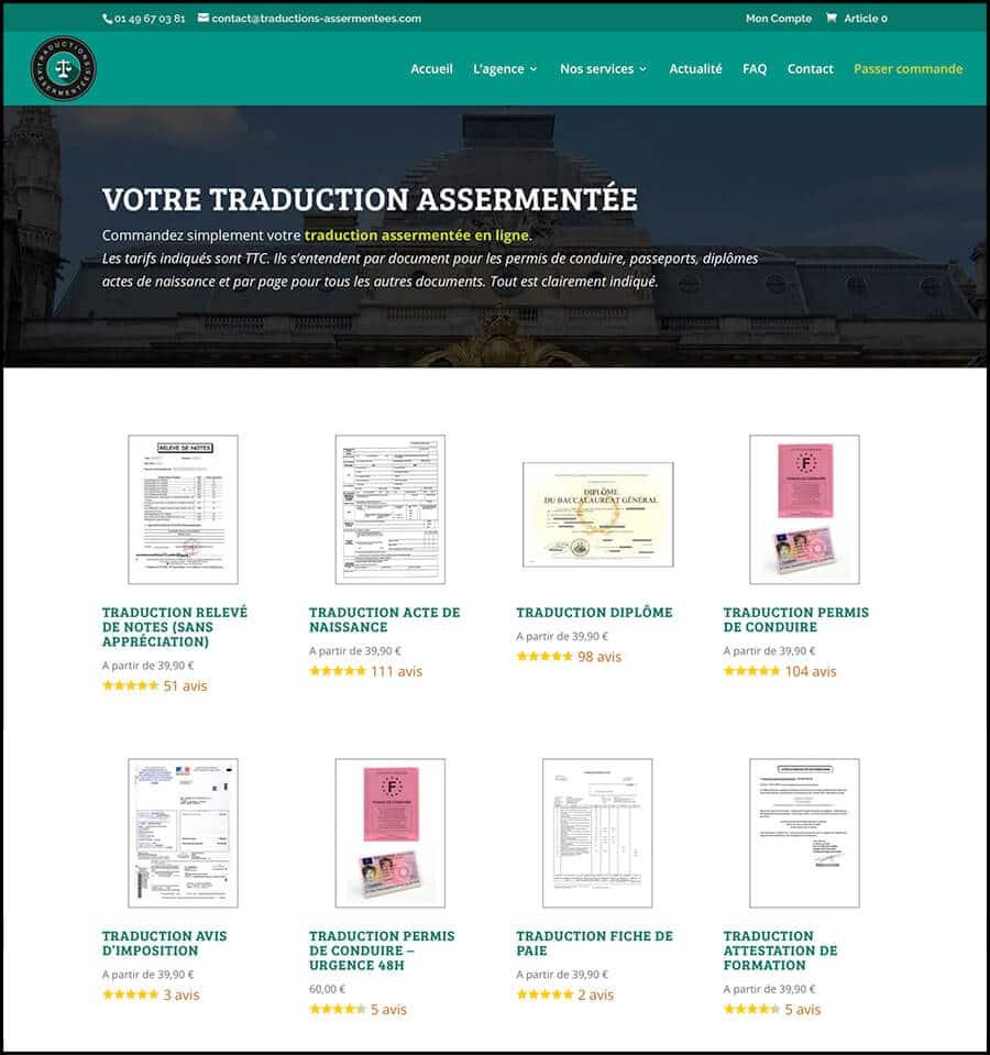 Page commande traductions assermentées