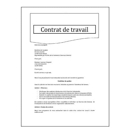 Traduction assermentée contrat de travail