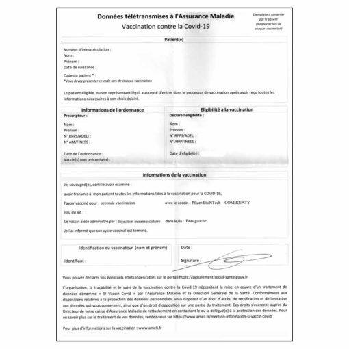 Attestation Vaccination Covid